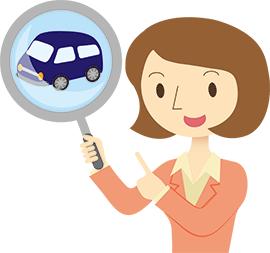 女性が虫眼鏡の中の自動車に指を刺しているイラスト