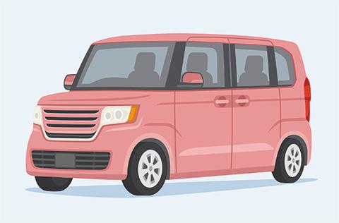 ピンク色の軽自動車のイラスト